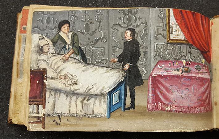 en målad bild på en man i en sjuksäng, med en orolig fru bredvid sig, och där en läkare står vid foten av sängen med en sked medicin