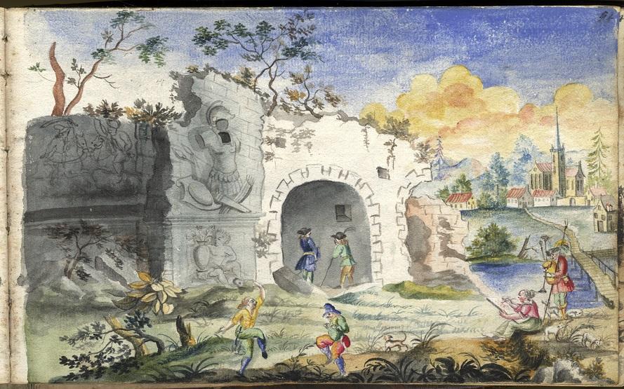 akvarell föreställnade ett landskap med en ruin, vid liken en liten kvinnogestalt sitter och målar