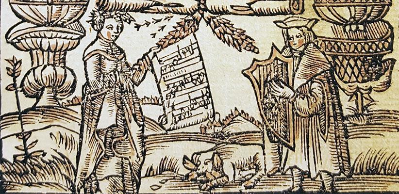 detalj från ett titelblad: träsnitt av en kvinna som håller upp en notskrift för en man som spelar harpa