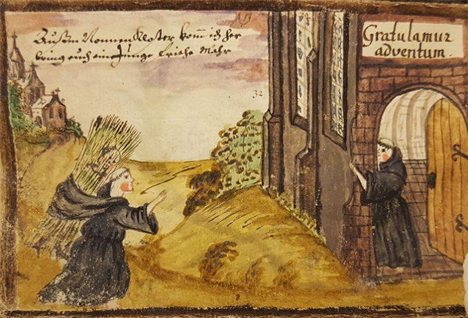 Målad bild på munk som går mot ett kloster med en stor kärve på ryggen