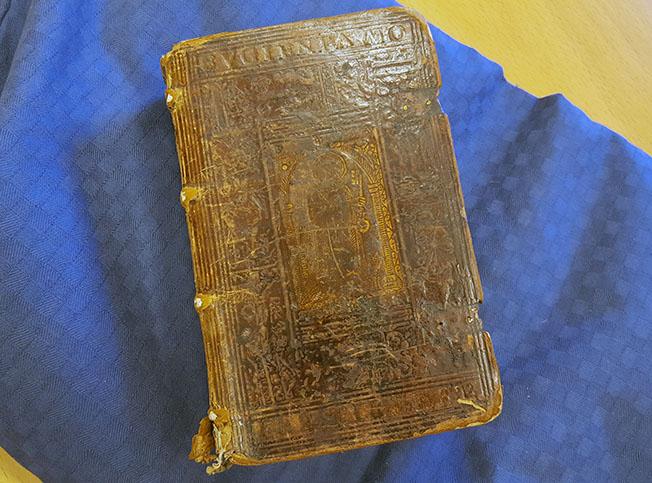 ett brunt skinnband från 1500-talet liggande på en blå kudde