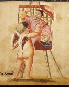 målad bild av en kerub som målar ett mansporträtt vid ett staffli