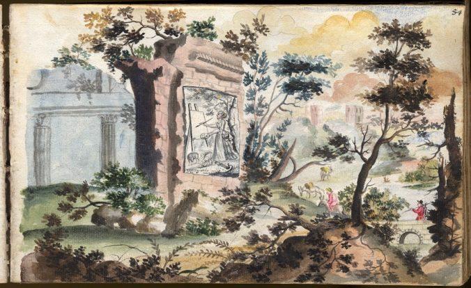 akvarell med ett porträtt av en målande kvinna, där porträttet sitter fästat vid muren till en ruin i ett landskap.