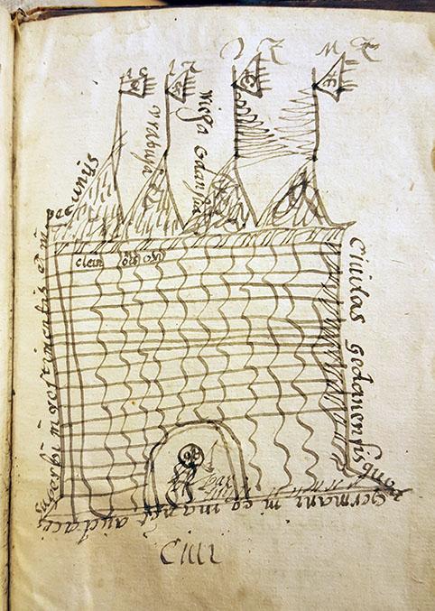 ett tecknat slott med fyra torn med vimplar samt en port med vakt