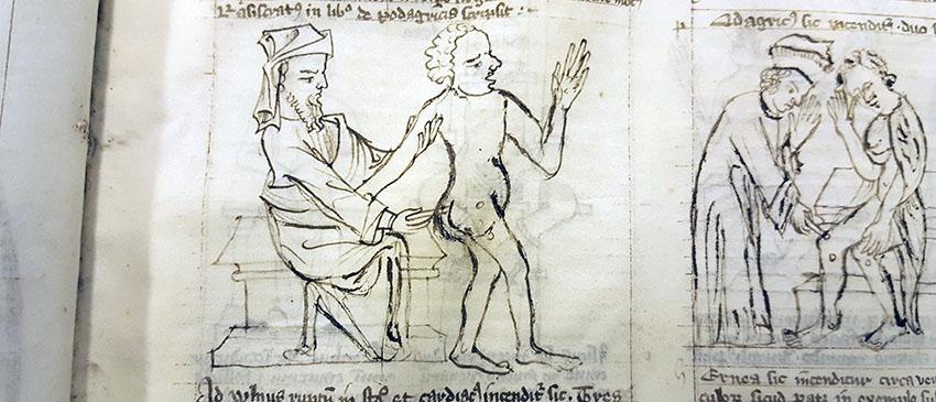 illustration av man som frå ett brännjärn i nedre delen av ryggen
