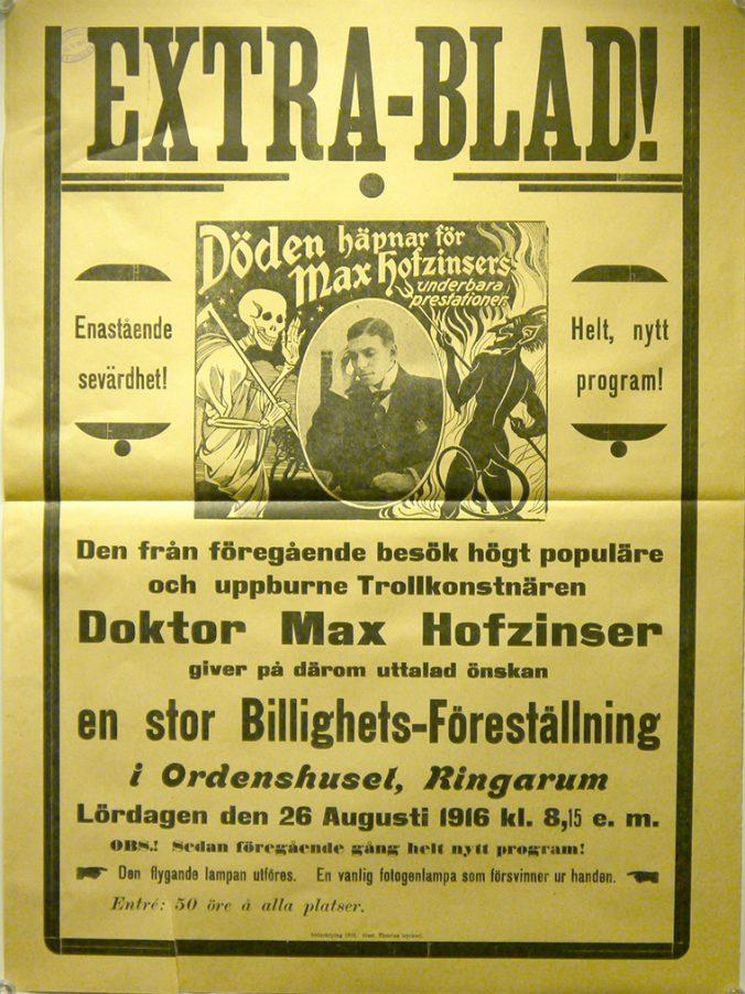 gul affisch med reklam för trolleriföreställning i Söderköping