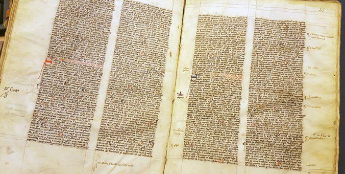 ett uppslag ur boken med handskriven text med röda och blå anfanger
