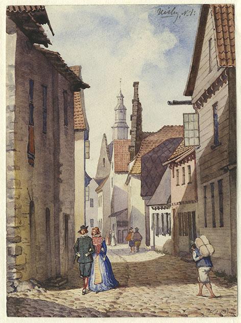 akvarell föreställande Hansgatan i Visby, mellan ålderdomliga hus går ett par klädda i renässansdräkt