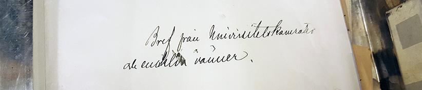 närbild på handskriven fras på en pappersmapp: bref från universitetskamrater och enskilda vänner