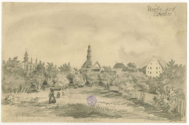 en teckning föreställande en trädgård i visby där en dam ochtvå små barn befinner sig