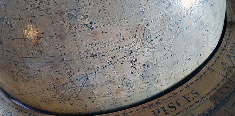 detalj från himmelsgloben med Oxens stjärnbild