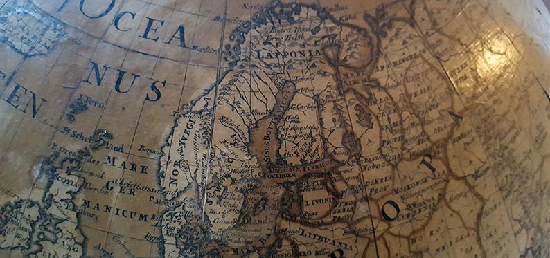 detalj från jordgloben där man ser Norden