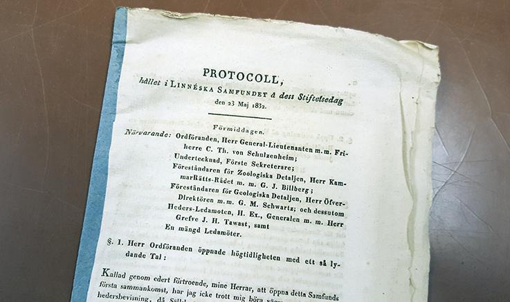 del av protokollet där Linnéska samfundet grundas