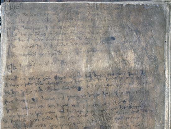 Övre delen av första sidan i handskriften, en mycket nött och sliten sida