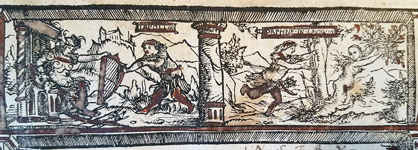 detalj från titelsidan med Apollo och Daphne
