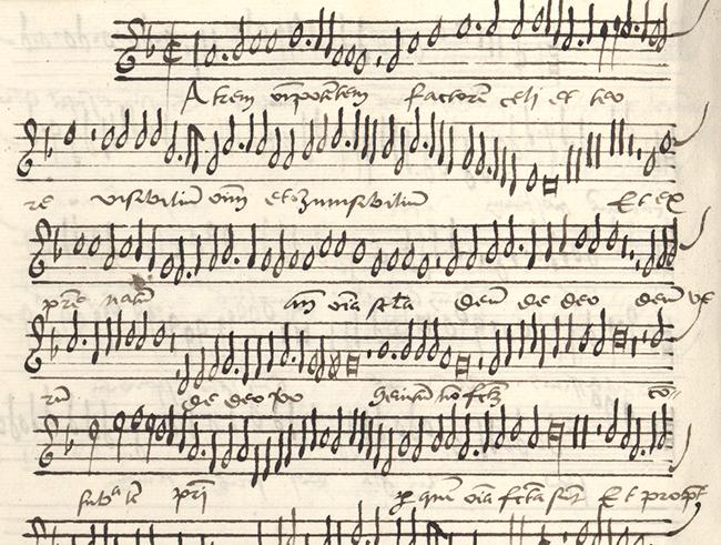 detalj från sida med handskrivna noter