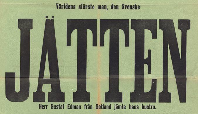 detlaj från affisch, med ordet jätten i stort format