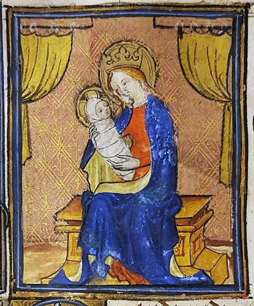 illumination ur handskrift föreställande madonnan med jesusbarnet li linda, allt i starka färger och mycket guld