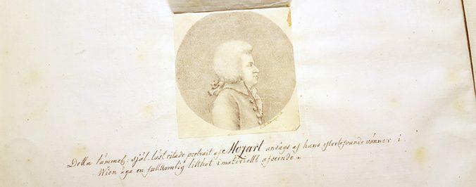 blyertsteckning med porträtt av Wolfgang Amadeus Mozart