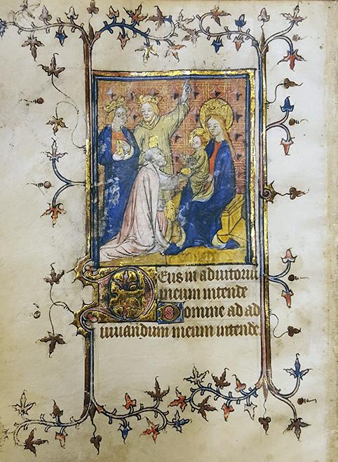 tre vise män överlämnar sina gåvor till maria och jesusbarnet