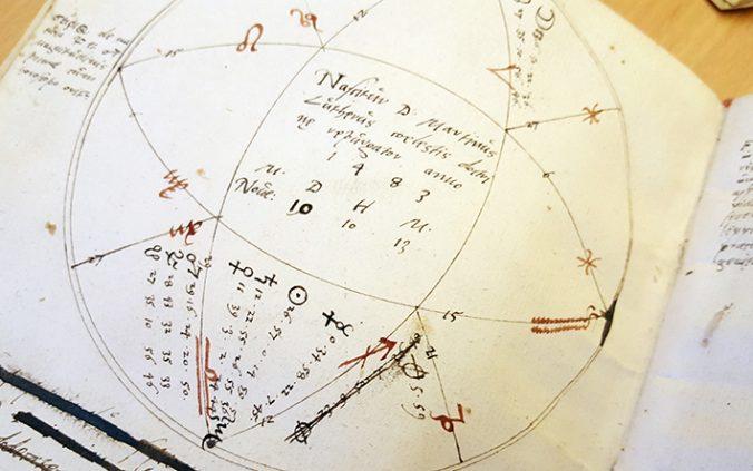 närbild på handritad astrologisk karta för martin luther