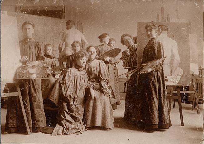foto på kursare på konstakademien 1897-1898