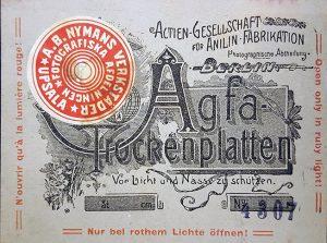 etikett för kartong med agfa-trockenplatten