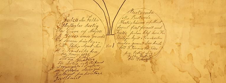 närbild på inskrifterna om Folke Filbyter med fru