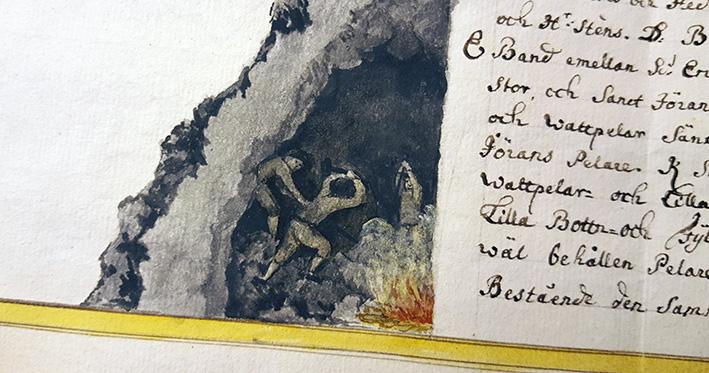 detalj som visar gruvarbetare som hackar i gruvan jämte en stor eld
