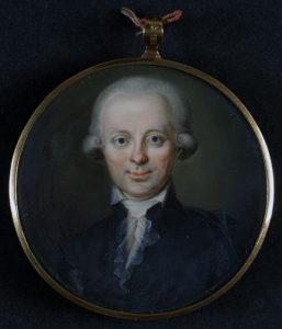 porträtt på Neikter bakom glas i en medaljong