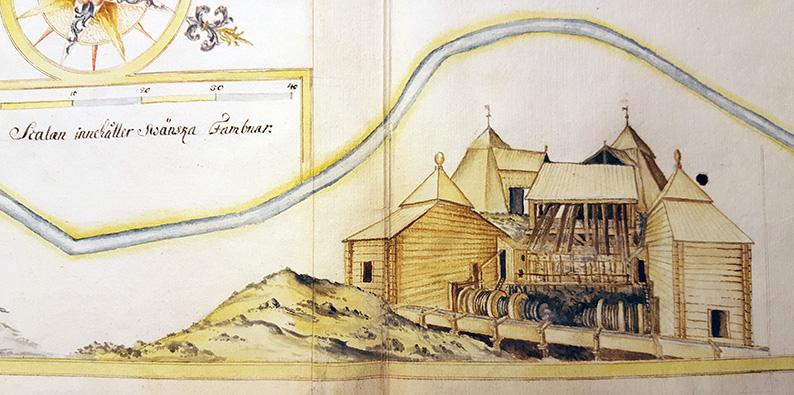detalj från ett kartblad där man ser en byggnad över jord som hör till gruvan