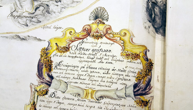 Närbild på kartusch på en karta med namnet Sala silvergruva