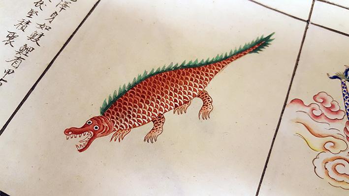 närbild på rosa krokodilliknande ödla eller liknande djur