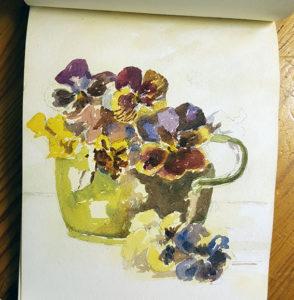 akvarellskiss av violer i ett grönt kärl