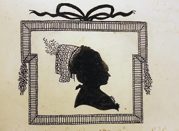 målad silhuett av kvinna i målad ram