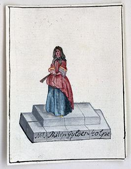 teckning föreställande en dam i röd klänning med blå kjol stående på ett podium