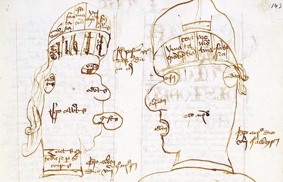 detalj från en teckning av två manshuvuden i profil som tittar på varandra