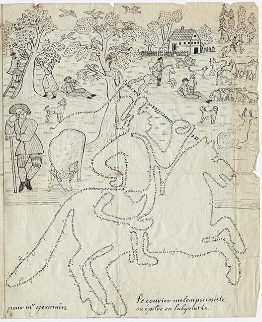 hela första sidan av brevet, men en man till häst och små figurer i bakgrunden
