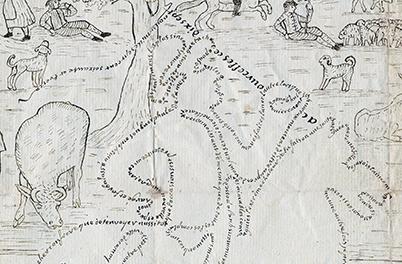 detalj av brevet, med konsturen av en man som sitter till häst
