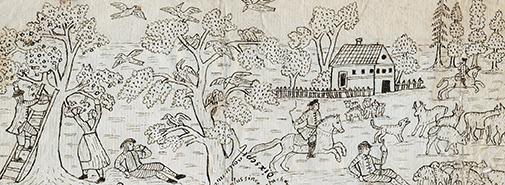 närbild på deltaljer av ett fruktplockande par, man till häst samt en herde med sin hjord med får eller getter