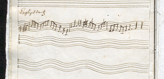 vågformade notrader med noter