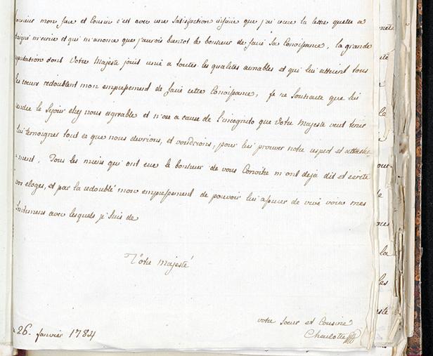 brev från drottning Maria Karolina (Charlotte) av Neapel