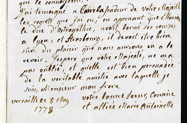 utsnitt av brev undertecknat av Marie Antoinette