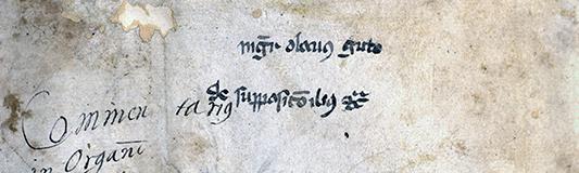 närbild på medeltida namnteckning
