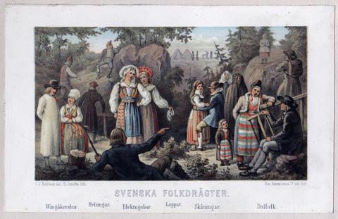 färgglad litografi med kvinnor och män i folkdräkt