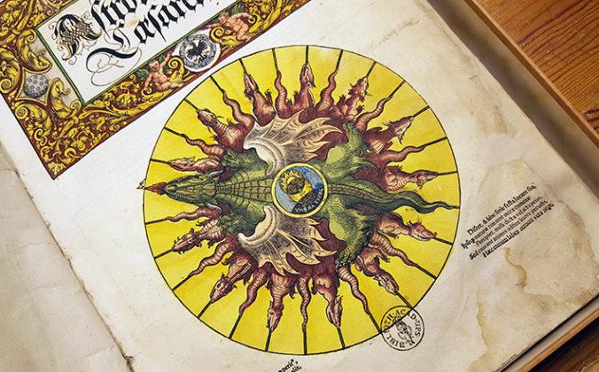 detalj från titelbladet till Apianus Astronomicum ceasareum