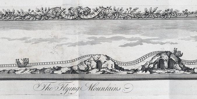 detalj från kopparstick med en räls som går över kullar med vagnar på
