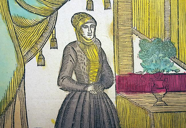 detalj av kistebrev med heliga birgittas porträtt, birigtta i brun huduvbonad och klänning med gula detaljer