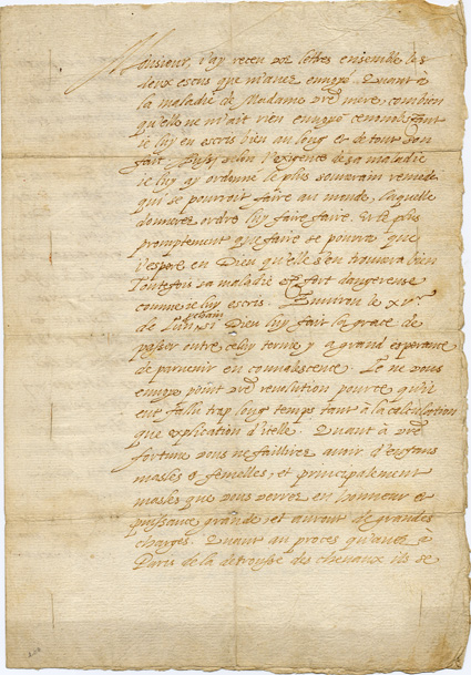första sidan av brevet