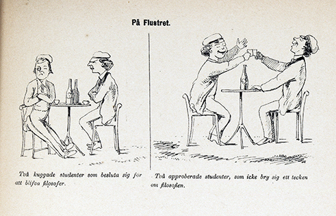 två studenter sitter vid ett bord och sörjer sin kuggade tenta, och vid ett annat bord firar två studenter att de klarat tentan
